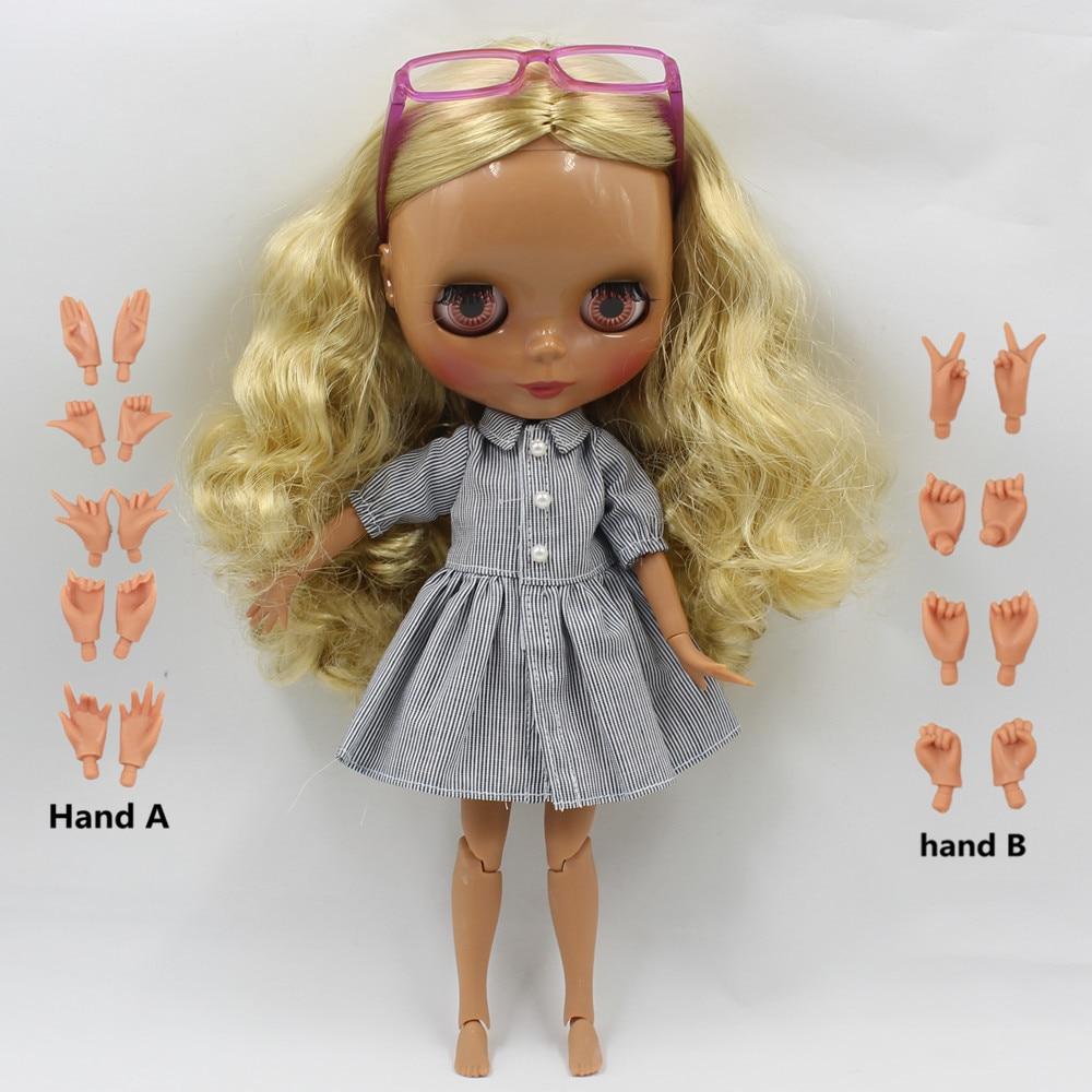 Nude Doll dark burning curly hair wavy hair golden yellow hair central cut joint doll 230BL0727