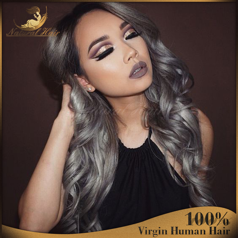Ombre Gray Full Lace Human Hair Wigs For Black Women Brazilian Virgin Hair  Lace Front Wigs Glueless Lace Front Human Hair Wigs