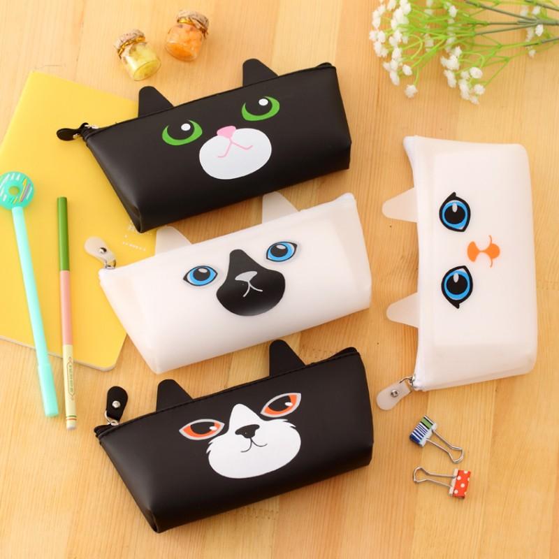 Kawaii Cat школа пенал для девочек Милый Силикона карандаш сумка kawaii Канцелярские сумка для детей офис школьные принадлежности эсколар