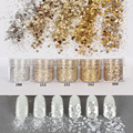 10 ml Champán Oro Plata Mix Nail Polvo Para Nail Art Decoration Glitter Powder Lentejuelas conjunto Gradiente de ultra-fine flash powde