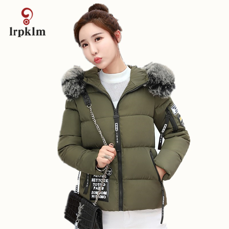2017 New 5 Colors Ladies Cotton Coat Large Size Winter Ladies Short Jacket Fashion Wild Fur Collar Thick Army Green Cotton LZ648 new mens colors short sleeve cotton tshirt henry kissinger quote absence