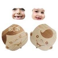 Caja de dientes para bebés y niños, caja de almacenamiento de madera, cordón Umbilical para dientes de bebé, caja organizadora de recogida en español, inglés y ruso
