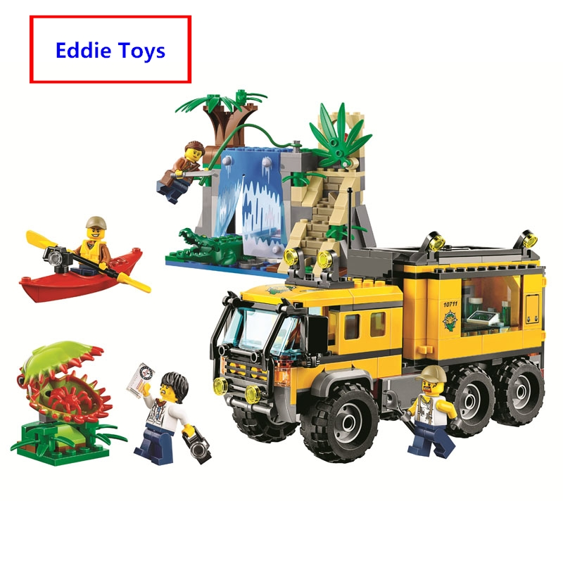 Hot Sale City Jungle Explorers Jungle Mobile Lab building blocks Kits Educational Toys For Children Compatible with Lego 60160 2017 hot sale girls city dream house building brick blocks sets gift toys for children compatible with lepine friends