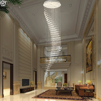 Modern Stair Long Crystal Chandeliers Lamps D700 H2000MM Spiral Led Chandeliers Lights