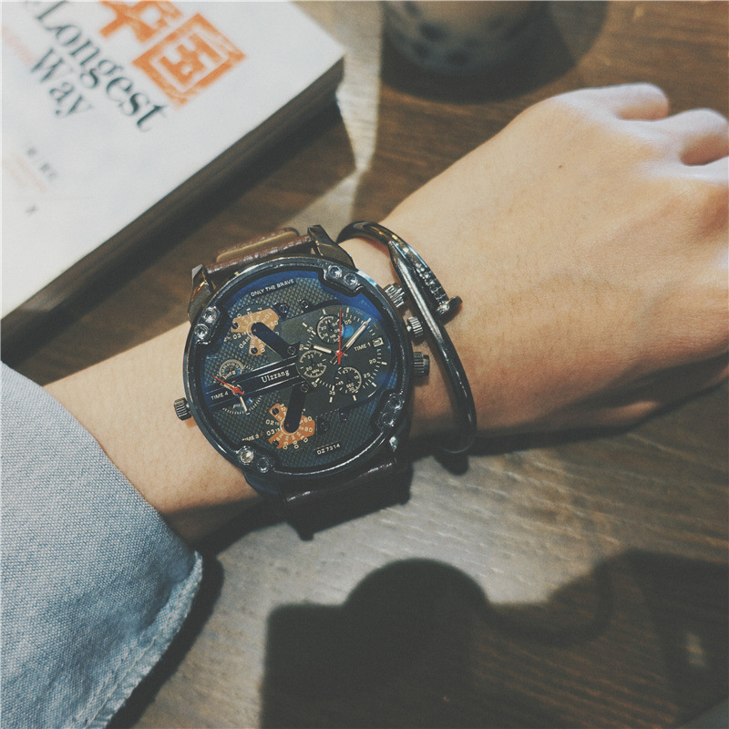 2017 new Fashion big dial men watch High quality leather top brand quartz watch Sports Waterproof Men's Clock relogio masculino цена 2017