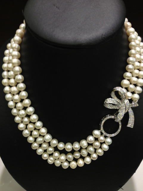 Triangle Natural Fresh Water Pearl Neckless Multilayer Classical Women Jewelry with Bownot clasp Free shipping Real Pearl