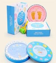 Taoqueen Blue box Boys Baby Souvenirs Hand and Footprint Makers Soft Modeling Clay Inkless Handprint Footprint Set