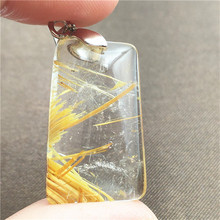 Natural Gold Rutilated Quartz Pendant Rectangle Gemstone Party Anniversary Gift 27x18x8mm Crystal Accessories Stone