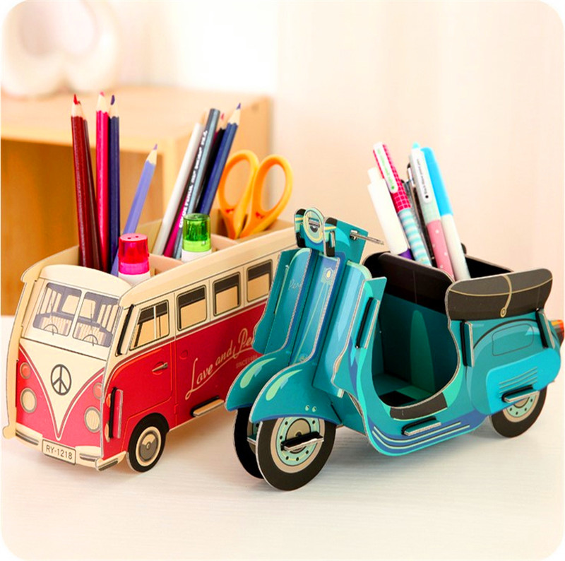 Make Toy Car Holder : Kawaii multifunction diy pen holder pens stand pencil
