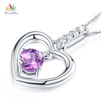 Peacock Star Fine 14K White Gold Amethyst Heart Pendant Necklace 0 04 Ct Diamond