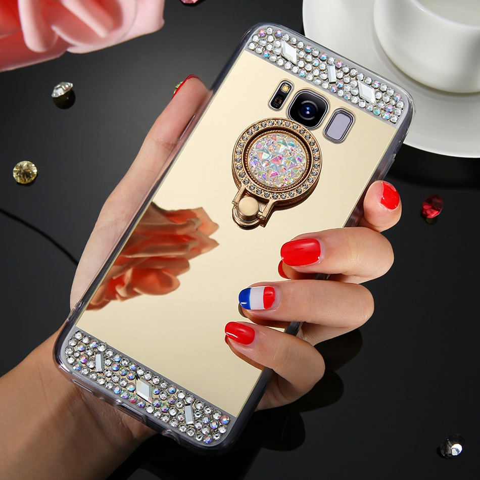Diamond Bling Soft Mirror Finger Ring Case For Samsung Galaxy J3 J5 J7 2015 2016 2017 J520 J720 J320 Back Cover Case Shell Coque image