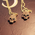 Statement Crystals Skull Necklaces Women Gold Plated Long Chain Collier Femme Choker Pendants & Necklaces Fashion Skull Jewelry