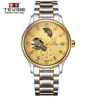 Luxury Top Brand TEVISE Men S Automatic Mechanical Watches Business Male Moon Phase Watch Full Stell