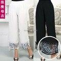 2017 женские летние брюки печати шнуровка лодыжки длина мать упругие талии брюки