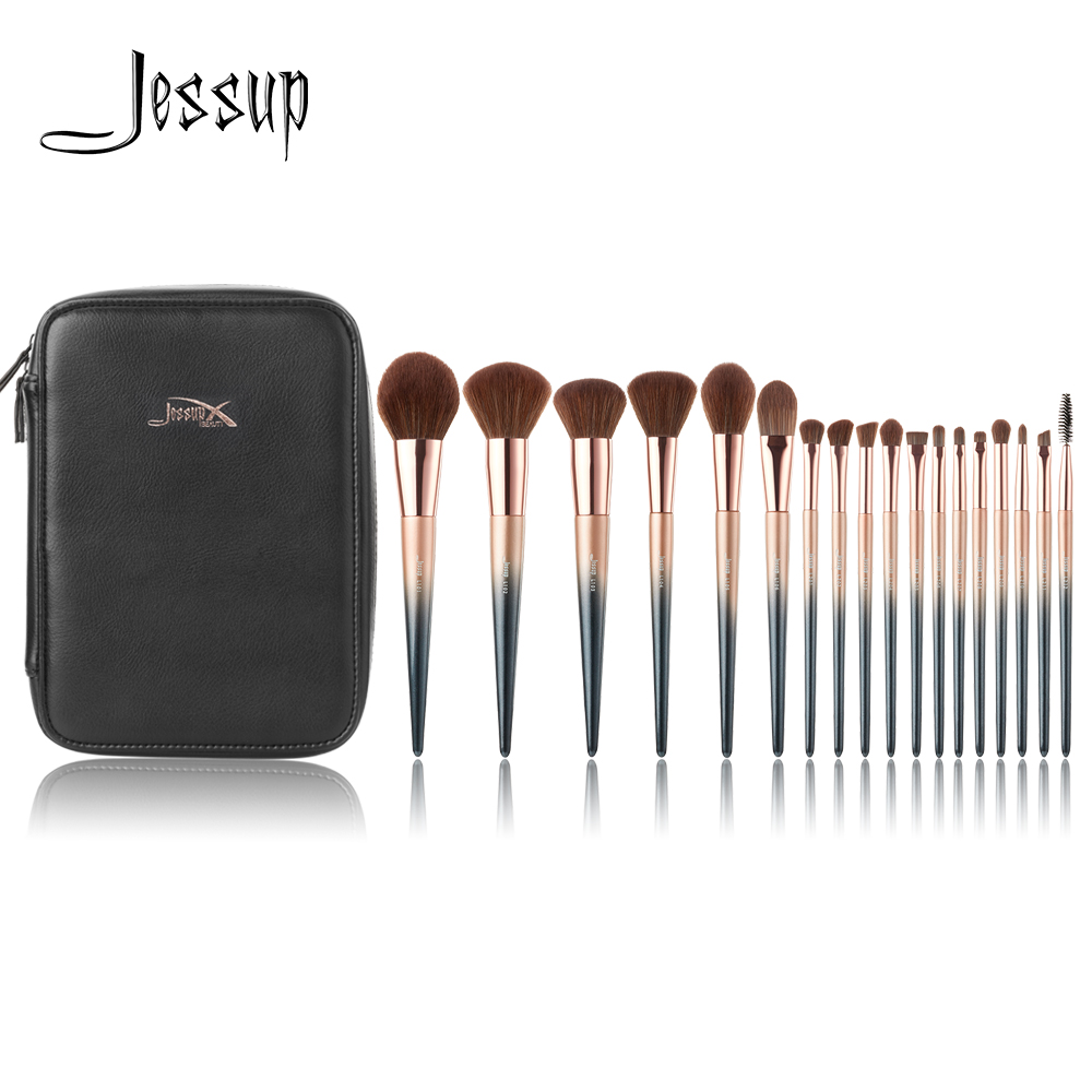 Jessup brushes New 18pcs Makeup brushes set & 1PC Cosmetic bag women Make up brush Powder Foundation Precision Pencil eyeshadow