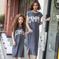 Casual Family Set Long Style Mother Daughter Dresses Mom and Daughter Dress Clothes Family Clothing Cotton Dress HM8