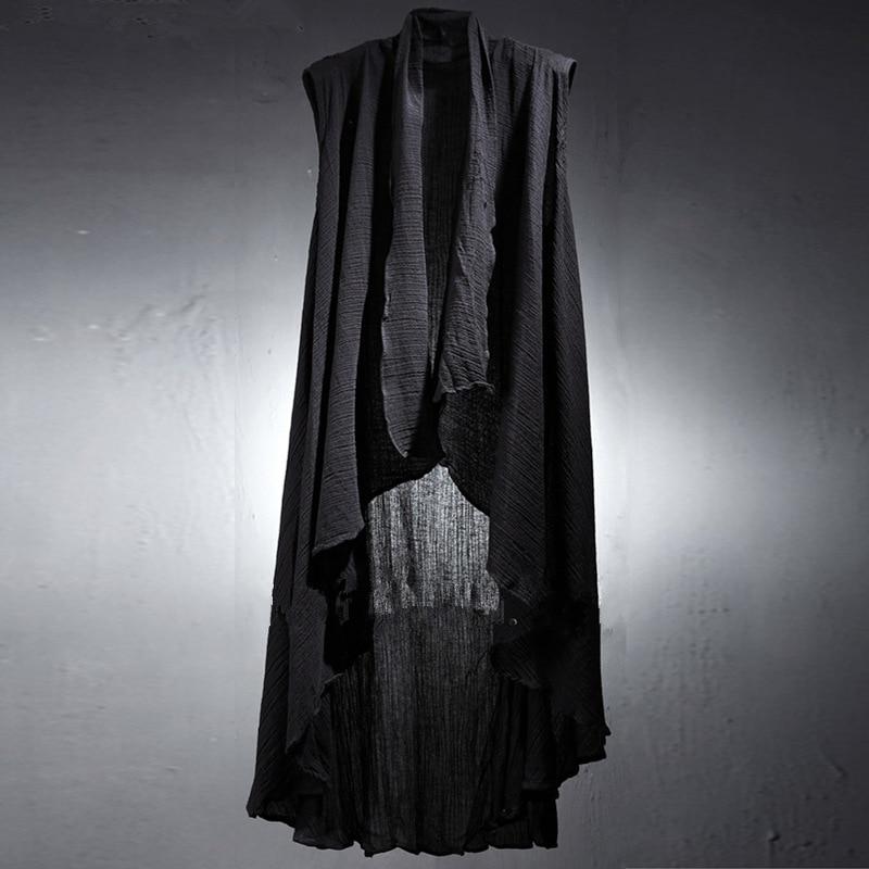Spring and Summer Men's Crumpled Linen Long Vest Men's Sleeveless Hoodie Vest Men Cotton Fashion Tactical Vest