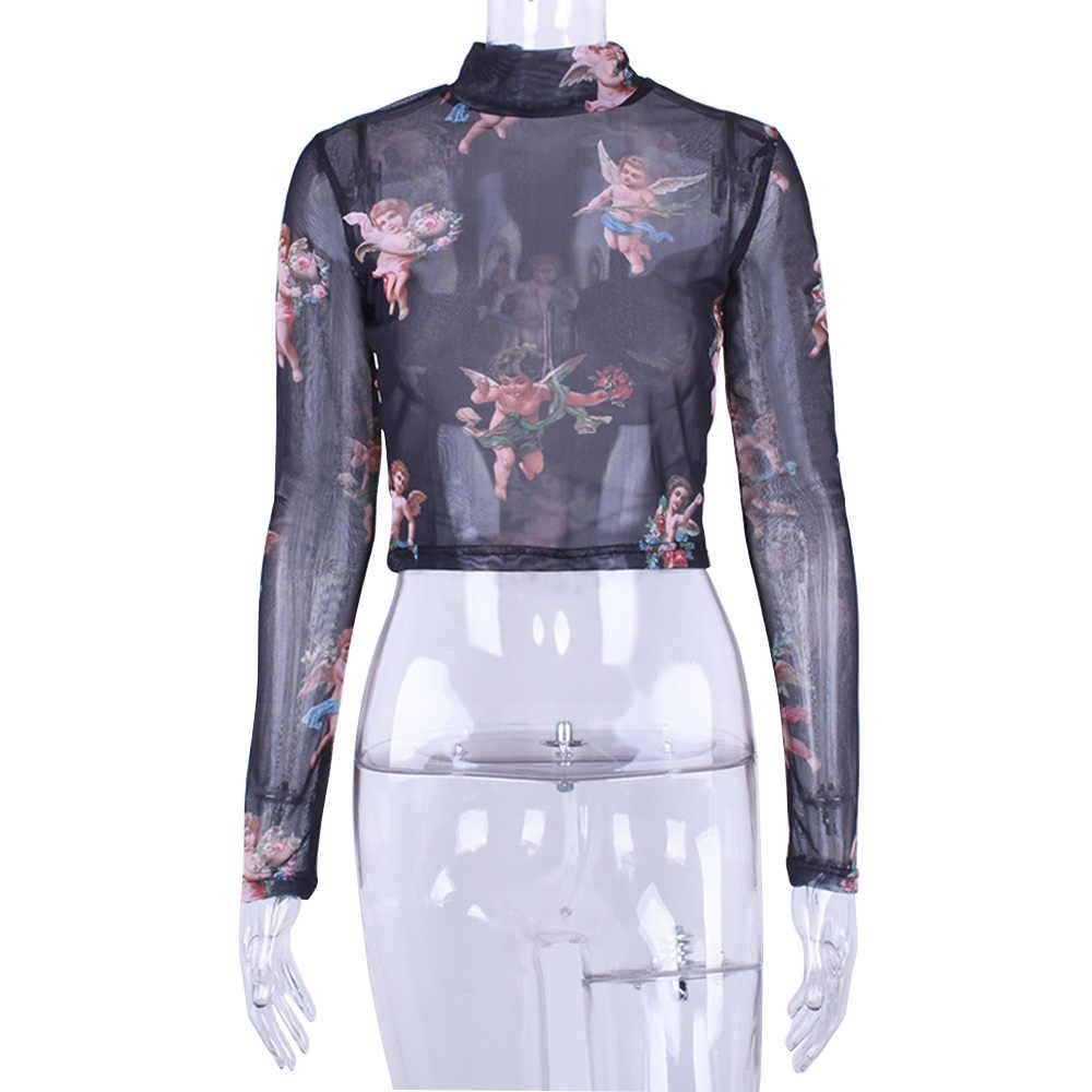 2019 ฤดูร้อนตาข่ายด้านบนเสื้อ t ผู้หญิง harajuku เสื้อยืดผู้หญิง tshirt camiseta mujer haut femme magliette donna koszulka damska
