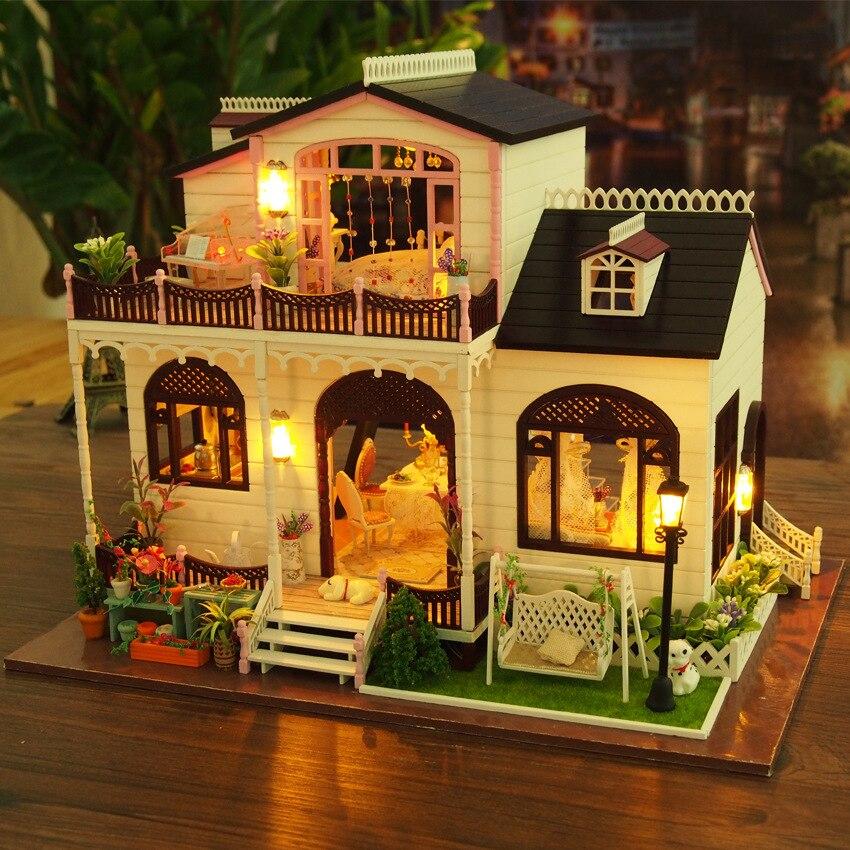 Miniature villa modèle Kit bricolage maison de poupée en bois grandes maisons de poupée Miniature maison de poupée meubles jouets pour enfants cadeau