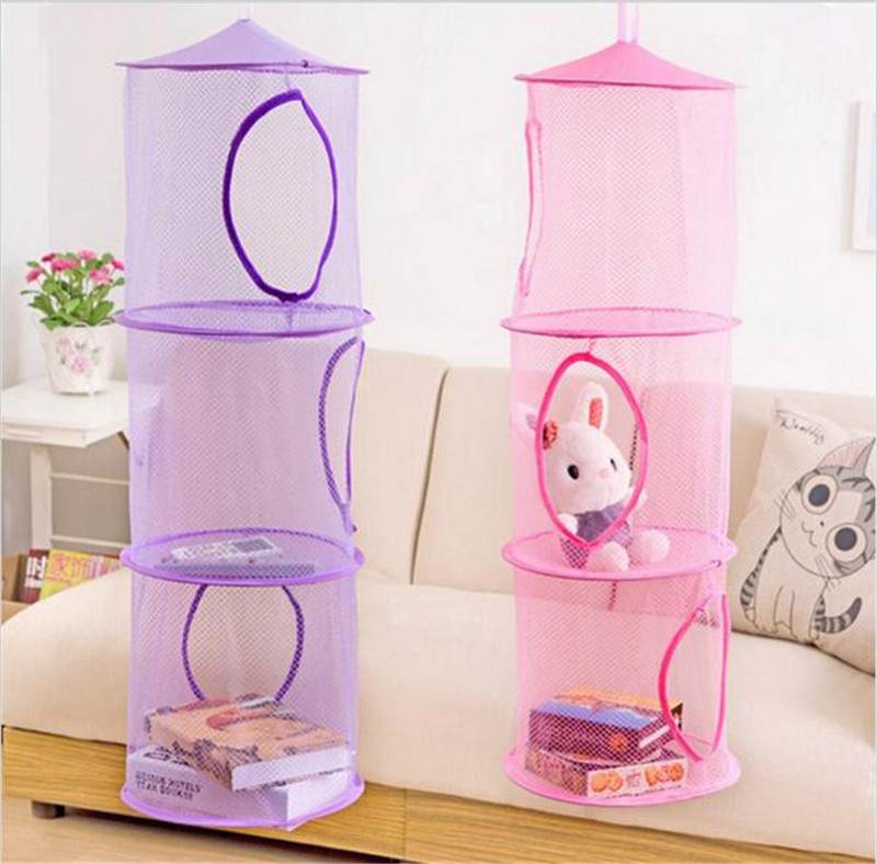 Free Shipping 3 Shelf Hanging Storage Net Kids Toy Organizer Bag Bedroom Wall Door Closet