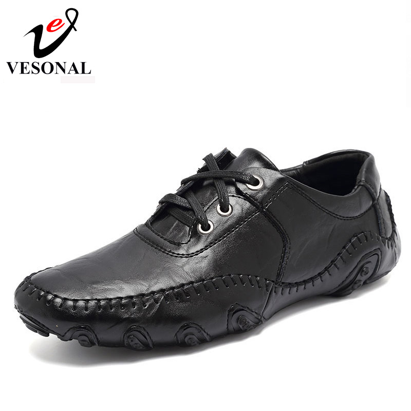 VESONAL Hot Sale 2017 New Men Casual Shoes Male Adult Genuine Leather Brand Autumn Winter Walking Driver Quality Footwear Man vesonal 2017 quality mocassin male brand genuine leather casual shoes men loafers breathable ons soft walking boat man footwear