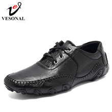 VESONAL Hot Sale 2017 New Men Casual Shoes Male Adult Genuine Leather Brand Autumn Winter Walking