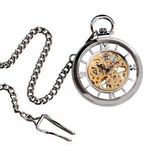 Image 5 - ¡Novedad! Reloj De bolsillo plateado con esfera abierta y esqueleto, cuerda a mano mecánica, reloj Fob, collar, accesorio, reloj De bolsillo