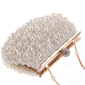 Image 4 - Evening Wedding Clutch Handbag Pearl Bag Dress Dinner Bag Small Purse Bridesmaid Handbag White