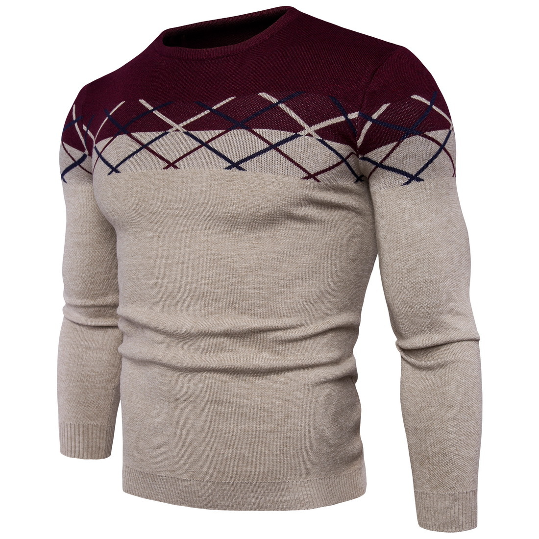 2017 New High Quality Pullover Sweater Men Cotton Computer Knitted Fashion Splicing Casual Mens Sweater Y964