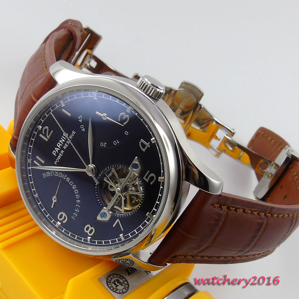 Newest Hot 43mm PARNIS Black Dial Leather Deployment Stainless Steel Case Power reserve Automatic Movement men's Wristwatches 43mm parnis black dial silver number leather steinless steel case power reserve automatic movement men s mechanical wristwatches