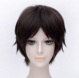 Image 2 - High Quality Attack on Titan Eren Jaeger Wig Dark Brown Short Mens Heat Resistant Synthetic Cosplay Wig + Wig Cap
