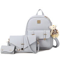 3Pcs Set Small Women Backpacks Female 2017 School Bags For Teenage Girls Black PU Leather Women