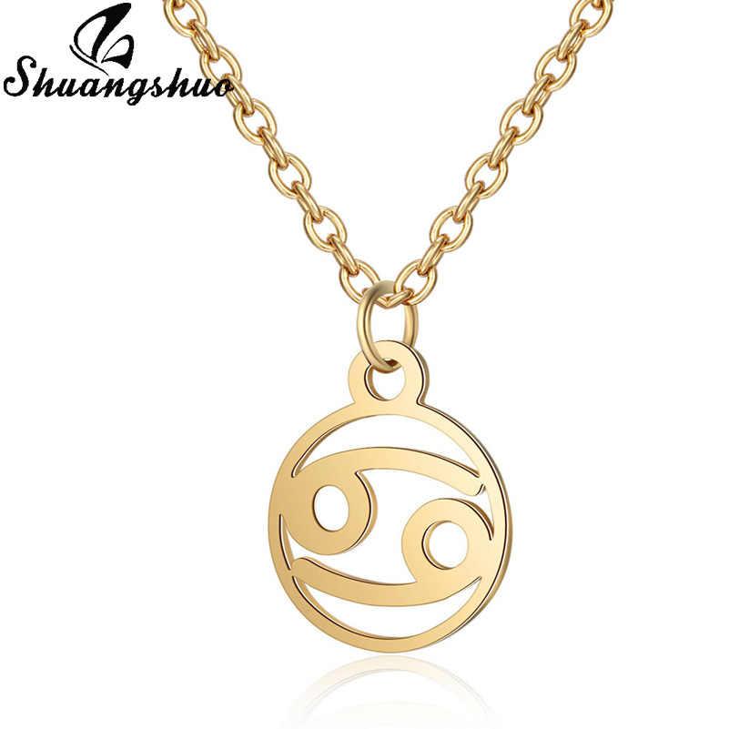 Shuangshuo 12 Takımyıldızı Kolye Kadınlar Için Iyi Gerdanlık Paslanmaz Çelik Kolye Kolye Uzun Zincir collares bijoux femme