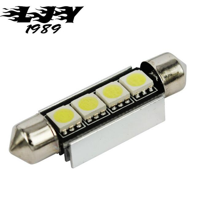 1X Cool White Canbus 41mm 42mm 4 SMD Festoon SV8,5 C10W 264 5050 LED Interior Reading Bulbs Car License Plate Light No polarity festoon 42mm 6w 540lm 12 smd 5630 led white light car reading lamp license plate light 12v page 5