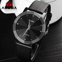 Los Hombres de moda Casual Reloj de Diamantes de Cristal de Plata Caso Elegante Unisex Reloj de Cuarzo Mujeres Simple Correa de Cuero Negro Relojes