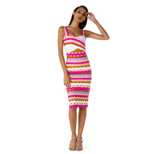 New Summer Luxurious Jacquard Weave Rayon Bandage Dress Women Sexy Strape Rainbow Stripe Evening Party
