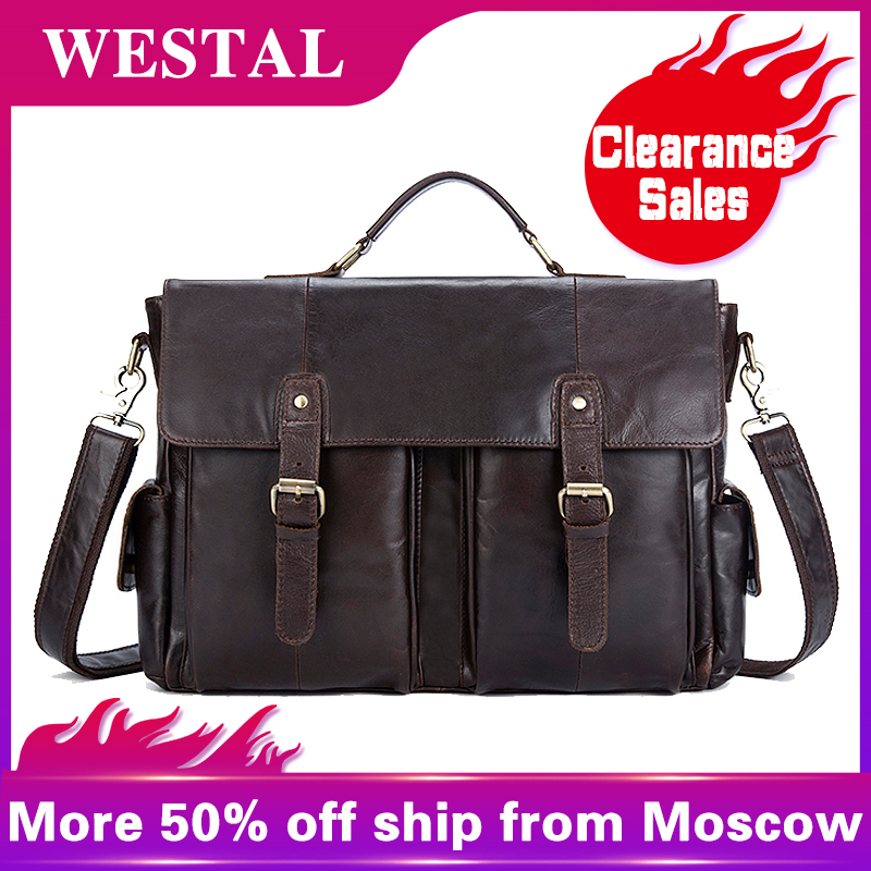WETSAL Clearance Sale Men's Briefcases Messenger Bag Men Genuine Leather Laptop Bag Multifunction Computer Bags Briefcases 8913