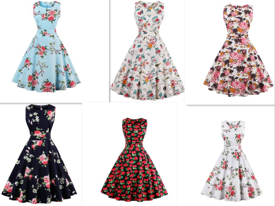 Women's plus size 4XL Vintage Retro Dress Foral Print Rockabilly Christmas Dress Hepburn Casual Party Swing Dress Vestidos