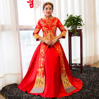 Vintage red Embroidery Cheongsam Modern Traditional Chinese style Wedding Dress Oriental Women's Long Qipao Vestidos Size S XXL