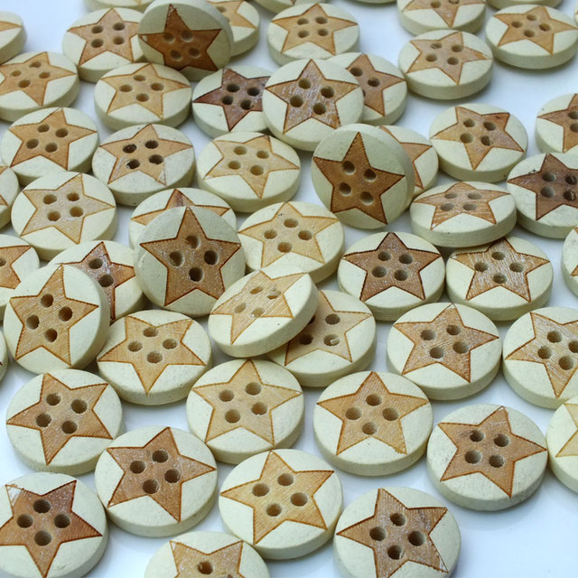13mm Button wholesale circular laser Pentagram wooden buttons buttoned shirt sweater buckle baby children