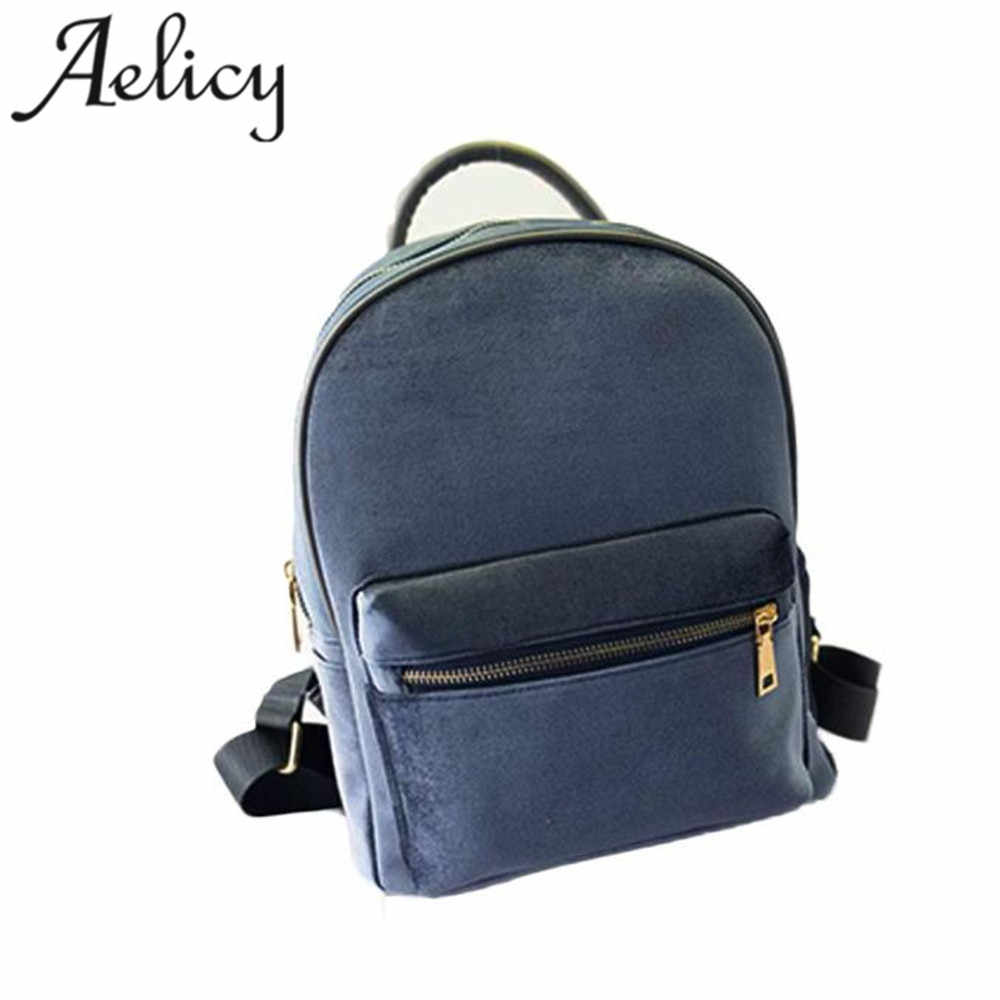 519cd00bda4 ... Aelicy 2018 Hot New Fashion Light High Quality Women Girls Gold Velvet  Small Rucksack Backpack School ...