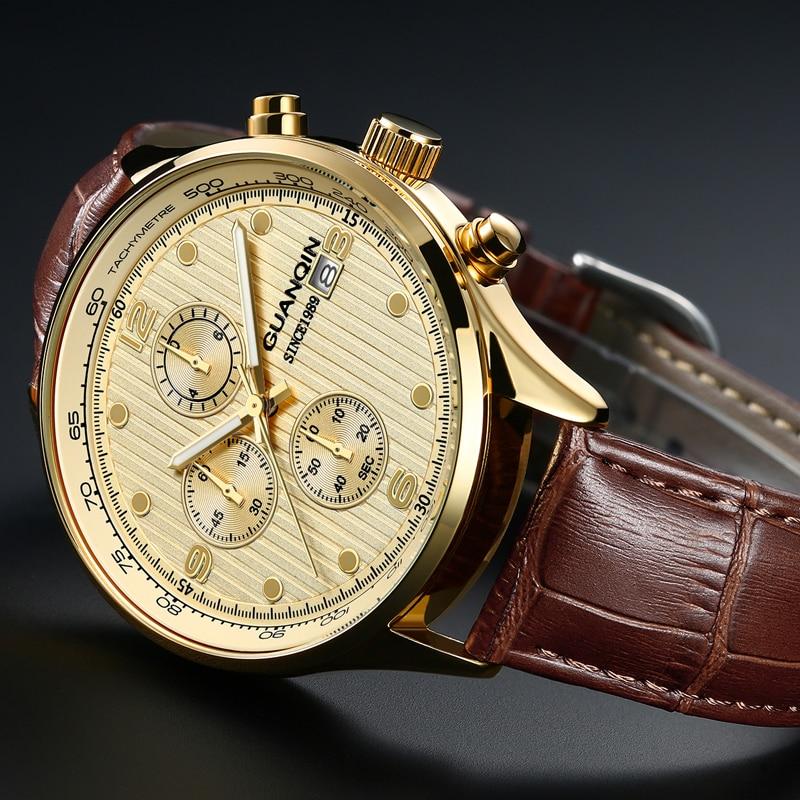GUANQIN Luxury Brand Watches Men Sport Chronograph Luminous Clock Military Casual Leather Quartz Wrist Watch Relogio Masculino