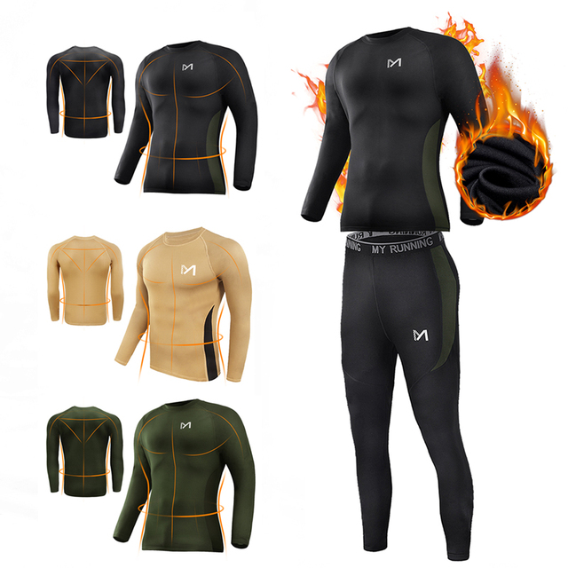 Men Thermal Underwear Set Wicking Long Johns Quick Dry Base Layer Long  sleeve Sport Compression Suit for Workout Skiing Running 76b1c7e98f56