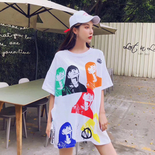 summer new style Womens loose t-shirt Colorful printed long Character print fashion top