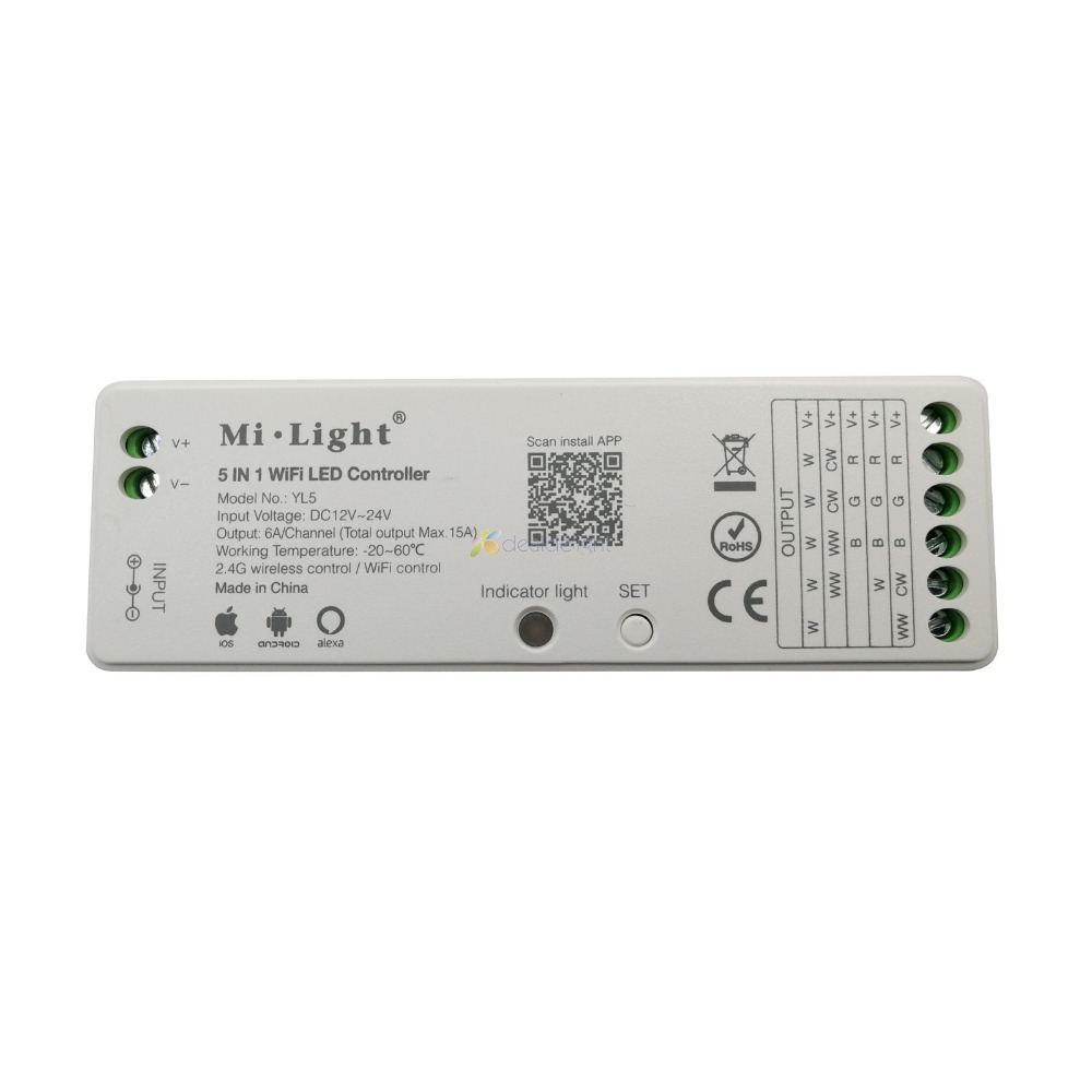 US $13 77 22% OFF Mi light YL5 5 IN 1 WiFi LED Controller 2 4G Wireless 15A  Amazon Alexa For Single color, CCT, RGB, RGBW, RGB+CCT Led Strip-in RGB