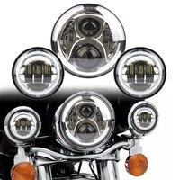 1 Set Chrome 7 Inch LED Headlight And 4 5 Inch Angel Eyes Fog Lights Kit