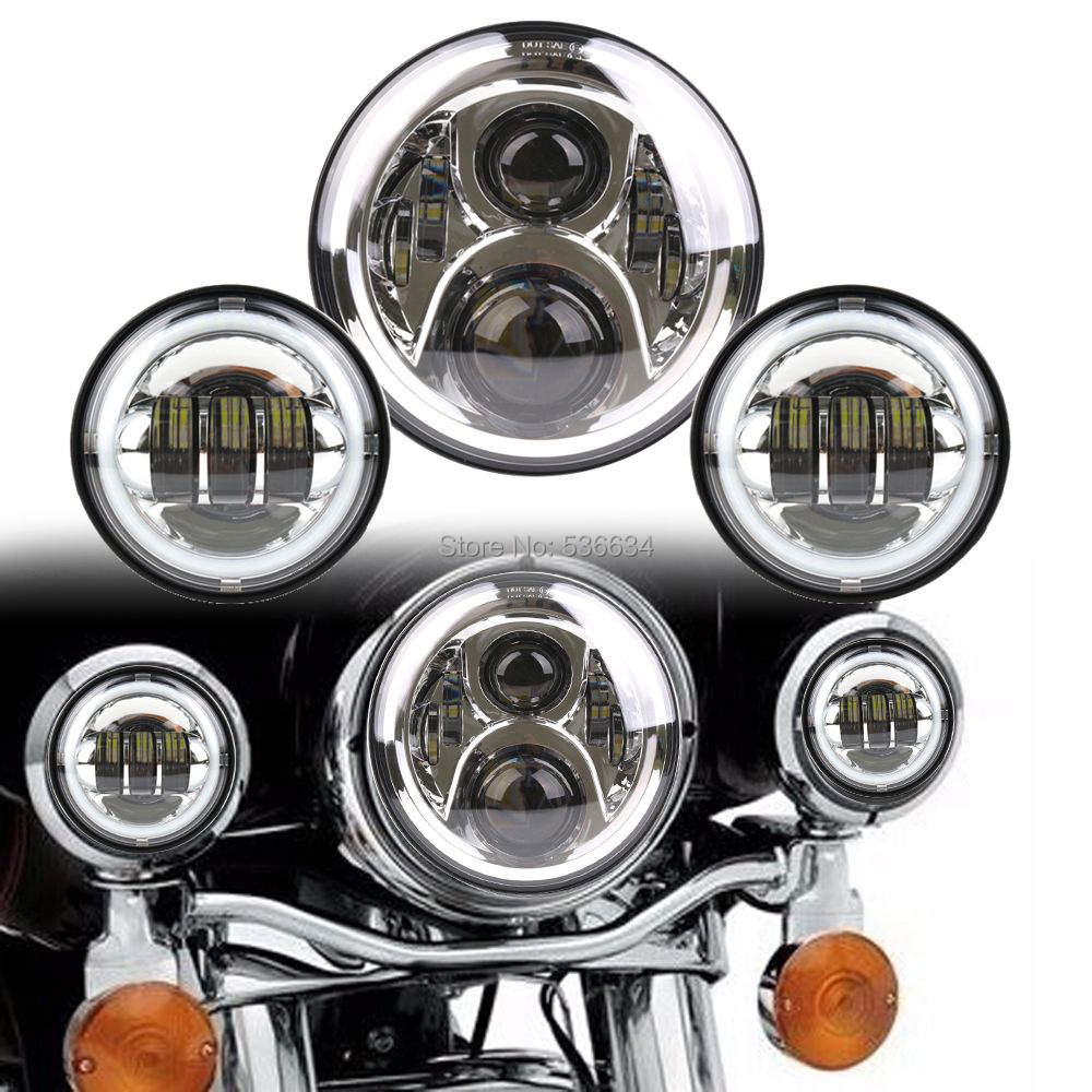 7Inch LED Round Projector Daymaker Headlight Hi/Low Matching 4.5 Inch LED Passing Lamps Fog Lights For Yamaha V star 650 Classic