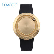 LAVARO Luxury Germany Brand Unisex Gold and Black Analog Quartz Watches Men Women Simple Stainless Steel Wristwatches Leather