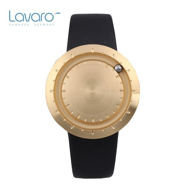 d1e43256ae0 LAVARO relogio de quartzo feminino dourado aço inox relogios masculinos de luxo  marcas famosas original relógio casal preto pulseira de couro a prova d    ...