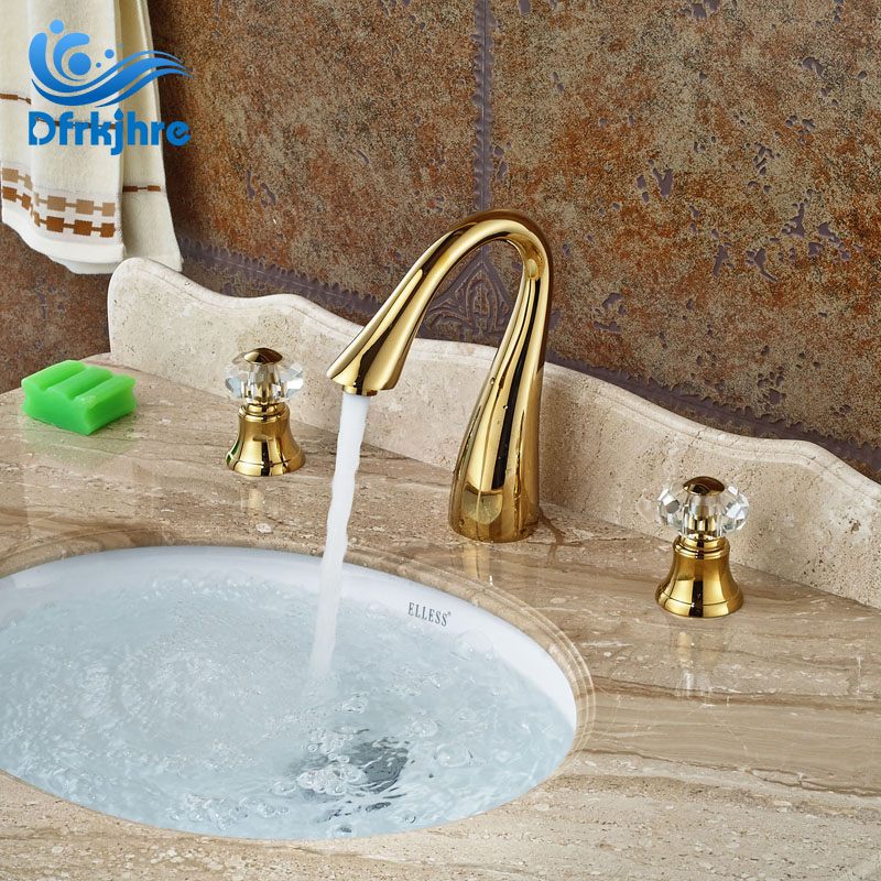 Gold finish 3pcs swan neck spout bathroom basin faucet - Gold bathroom faucets with crystal handles ...